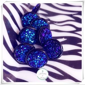 Handmade Royal Blue Druzy Earrings Black Setting